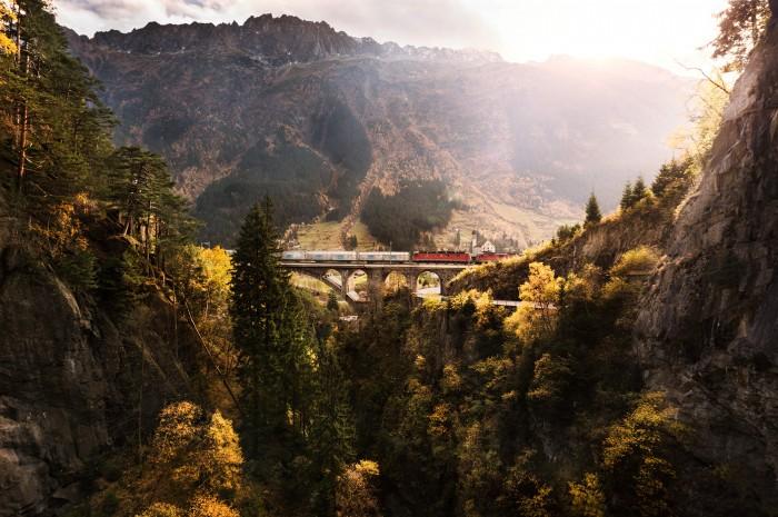 Noe Flum Schweizer Salinen Salz Transport  Zug  Viadukt