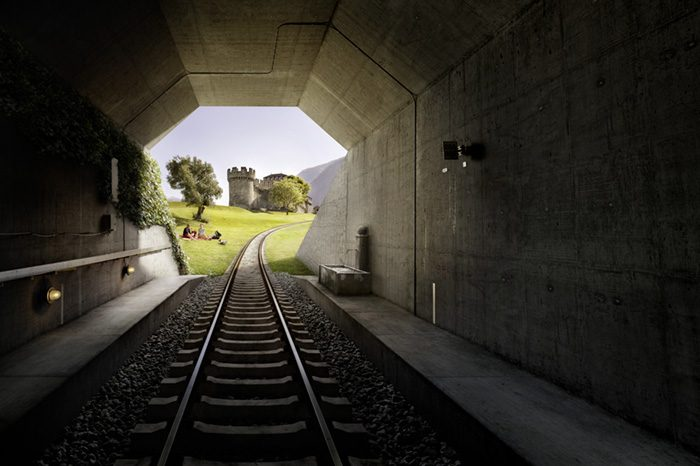 Noe Flum Tessin Tourismus Bellinzona Tunnel Gleis Burg Wiese Picknick