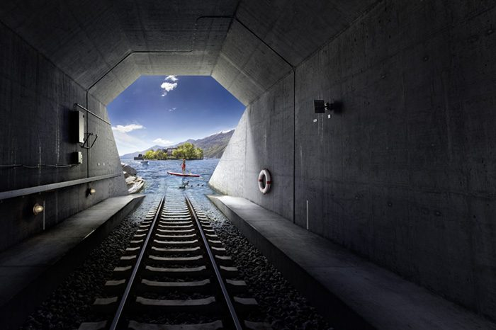 Noe Flum Tessin Tourismus Brissago Tunnel Gleis See Insel Stand-up Paddle