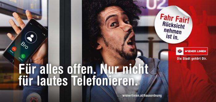 Markus Roessle Wiener Linien Fahr Fair Afro telefonieren