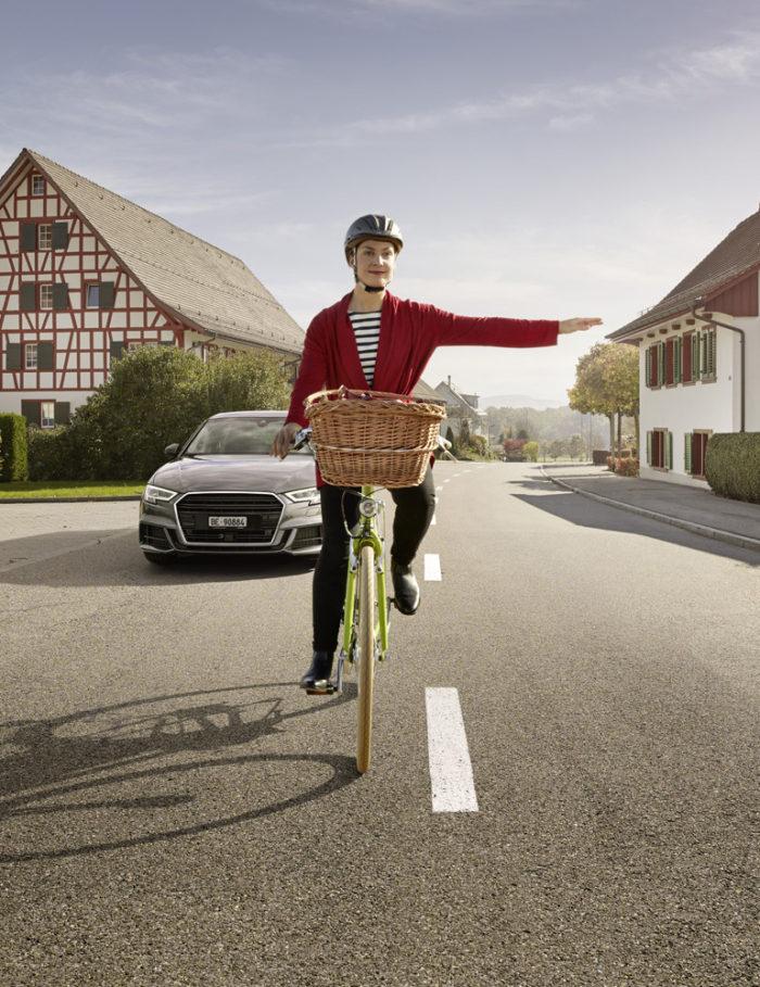 Noë Flum Pro Velo Fahr sichtbar abbiegen Fahrrad Audi Strasse Riegelhaus