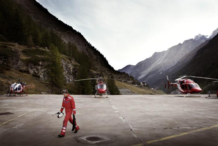 Noe Flum Air Zermatt Basis Helikopter Lama Ecureuile B3 Bell 429