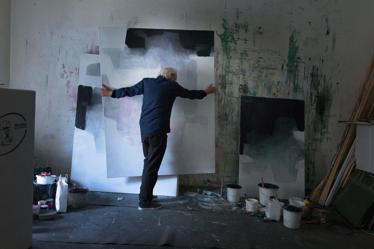 Markus Roessle Walter Vopava Kuenstler Maler abstrakt Malerei Oesterreich Atelier